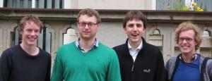 Gruppenbild des Vorstandes 2011/2012: Philipp Stiel, Benedikt Nufer, Tom-Michael Hesse und Simeon Reusch (v.l.) freuen sich auf die vor ihnen liegenden zwölf Monate