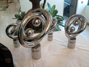 The trophies for winners of WUDC 2012 at De La Salle University, Manila.