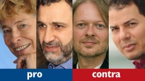 Die Redner der Sendung: Gesine Schwan, Tarafa Baghajati, Michael Schmidt-Salomon, Hamed Abdel-Samad (v.l.n.r.); Fotos: 3sat
