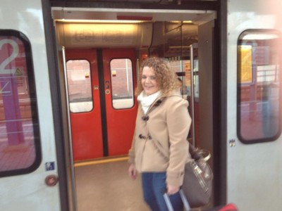 Anna from Paderborn, boarding the train.