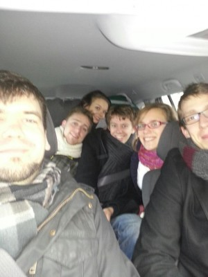 A car full of debaters from the center of Germany. Driving too fast to give a good picture...