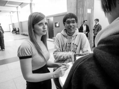 Debaters with Tradition: Rebecca Meredith and Ashish Kumar from Cambridge A