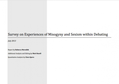Report shows spread of Misogyny and Sexism within Debating