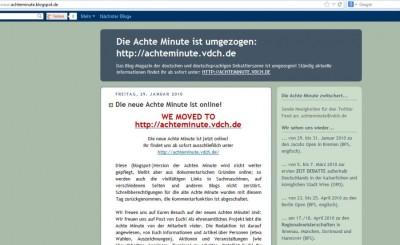 Screenshot des ersten Online-Auftritts der Achten Minute als Blog 2007
