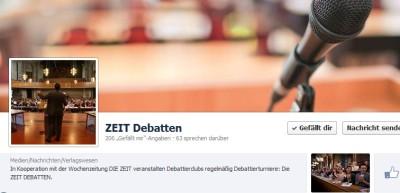 Die ZEIT DEBATTEN jetzt mit eigenem Facebook-Auftritt