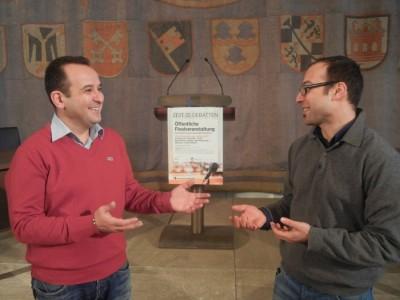 Georg Shparberg (l.) und Roman Grinblat, Gründer des Debattierclub Knesset (c) DC Knesset