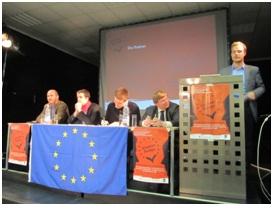 """Klartext Europa""-Debatte in Magdeburg, am Pult Stefan Torges (c) Felicia Höer"