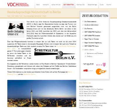 Neues Konzept: Internetauftritte der ZEIT DEBATTEN zentral beim VDCH