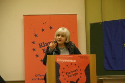 Die Europaabgeordnete Elisabeth Schroedter in der Debatte (c) Mathias Hamann