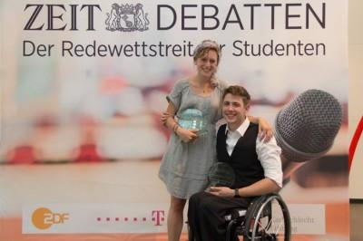 Deutschsprachige Debattiermeister 2014: Christina Dexel und Philip Schröder aus Berlin (c) Henrik Maedler