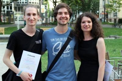 Sieger des HeidelBÄM 2014: Ruben Brandhofer, Tobias Kube und Sarah Kempf (v.l.) (c) Rederei Heidelberg