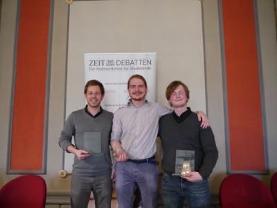SDM 2016: Konrad Gütschow (bester Redner), Peter Giertzuch und Julius Steen (vlnr)(c) Arben Kukaj