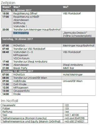 Zeitplan ZEIT DEBATTE Wien 2017