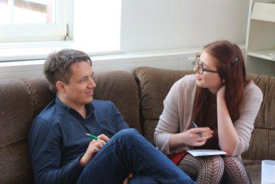 Die Autorin und ihr Partner Jakobus Jaspersen in der Vorbereitungszeit © Debating Club Heidelberg e.V.