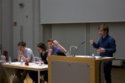 V.l.n.r.: Alexander Hans, Lara Tarbuk, Tobias Münch, Nicolas Garz - © Lina Henze