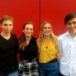 Der neue Vorstand in Mainz: Carlo Brauch, Alena Haub, Julia Engel und Evren Özkul - © Debattierclub Johannes Gutenberg e.V.