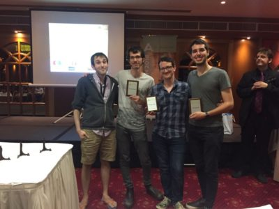 Left to right: Dan Lahav (CA), Ido Bressler (Winner), Amichay Even Chen (Winner), Ido Kotler (Best Speaker), Duncan Crowe (CA) - ©
